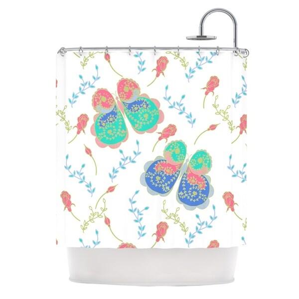 kess inhouse anneline sophia leafy butterflies pink teal butterfly shower curtain 69x70