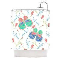 KESS InHouse Anneline Sophia Leafy Butterflies Pink Teal Butterfly Shower Curtain (69x70)