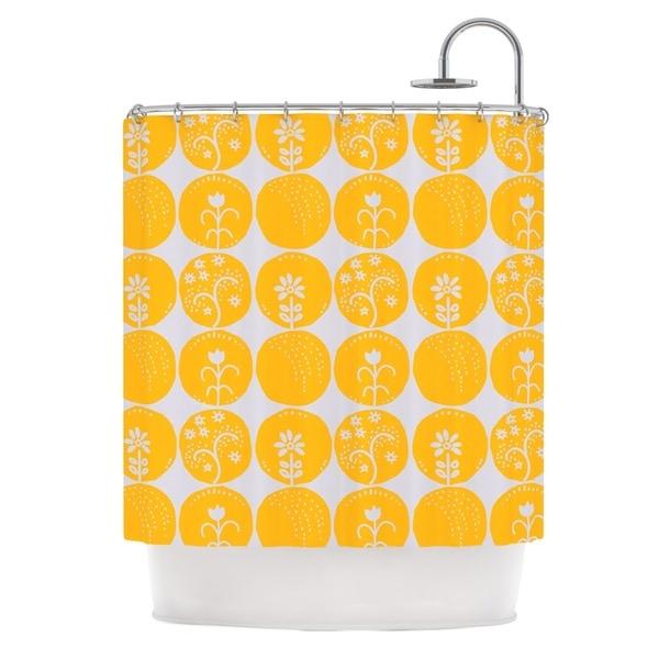 KESS InHouse Anneline Sophia Dotty Papercut Yellow Circles Gray Shower Curtain (69x70)