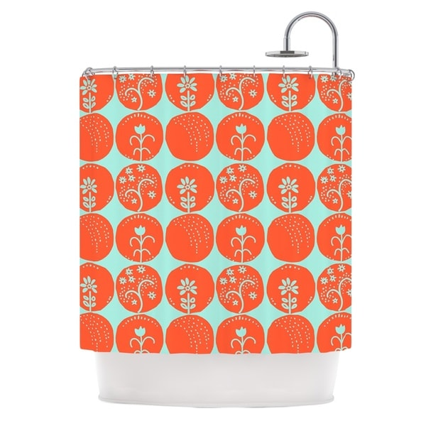 KESS InHouse Anneline Sophia Dotty Papercut Orange Circles Teal Shower Curtain (69x70)