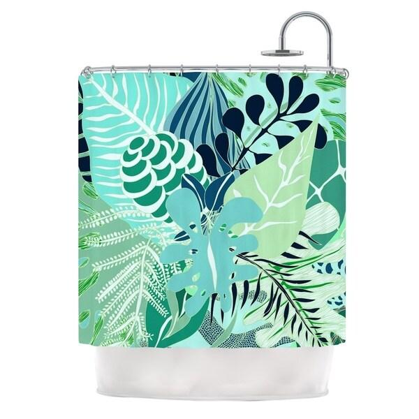 KESS InHouse Anchobee Giungla Green Floral Shower Curtain (69x70)