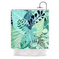 "KESS InHouse Anchobee ""Giungla"" Green Floral Shower Curtain (69x70) - 69 x 70"