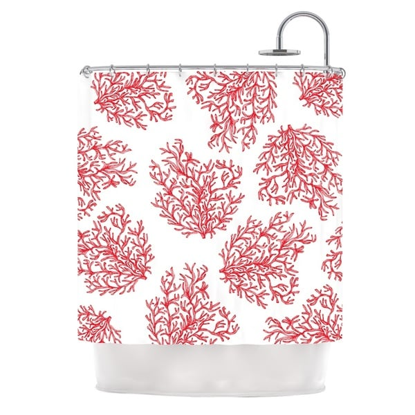 KESS InHouse Anchobee Coral Red White Shower Curtain (69x70)