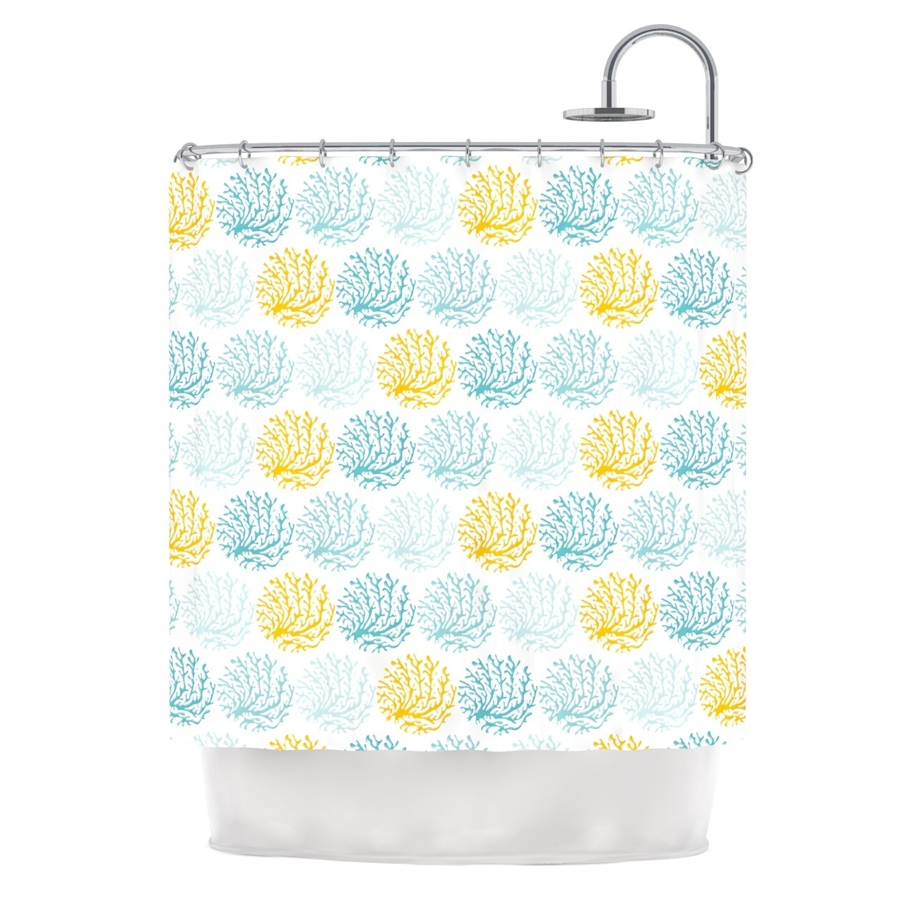 Kess InHouse Anchobee Coralina Teal Yellow Shower Curtain...