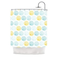 KESS InHouse Anchobee Coralina Teal Yellow Shower Curtain (69x70)