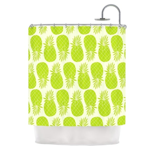 KESS InHouse Anchobee Pinya Lime Green Pattern Shower Curtain (69x70)