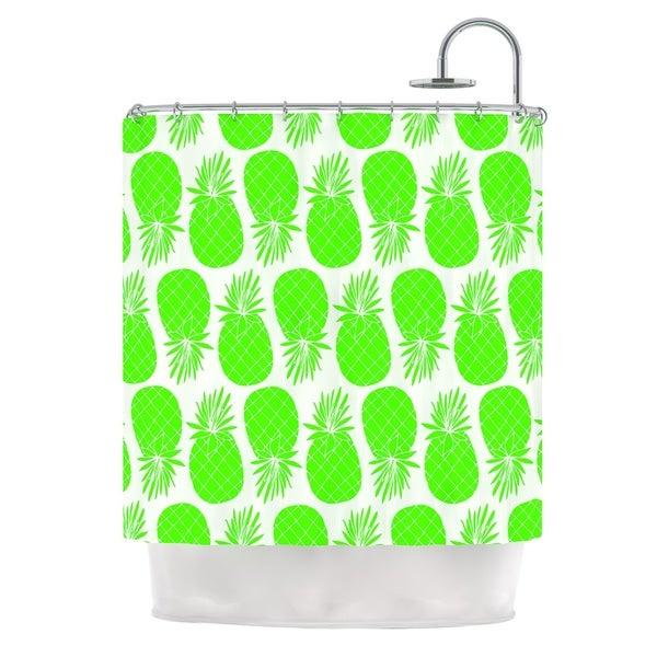 KESS InHouse Anchobee Pinya Neon Green Lime Pattern Shower Curtain (69x70)