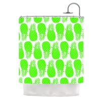 KESS InHouse Anchobee Pinya Neon Green Lime Pattern Shower Curtain (69x70)