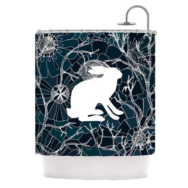 KESS InHouse Anchobee Hare Blue White Shower Curtain (69x70)