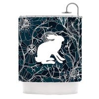 KESS InHouse Anchobee Hare Blue White Shower Curtain (69x70)