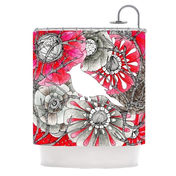 KESS InHouse Anchobee Cardinal Red Black Shower Curtain (69x70)