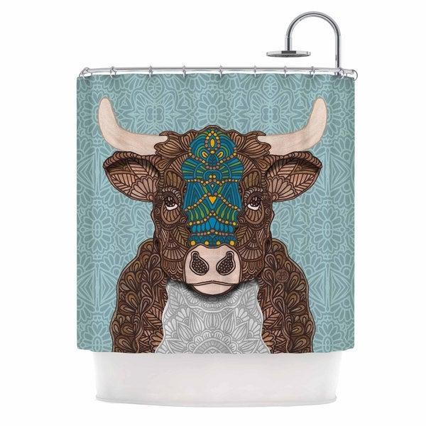 KESS InHouse Art Love Passion Bennie - The Bull Teal Brown Shower Curtain (69x70)