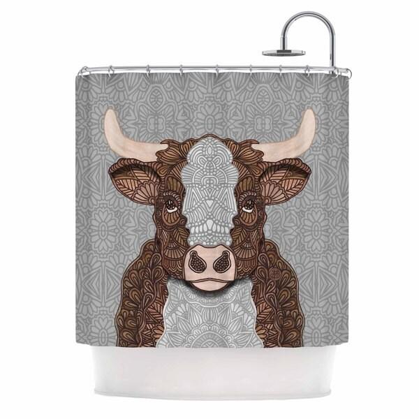 KESS InHouse Art Love Passion Gustaf The Bull Brown Gray Shower Curtain (69x70)