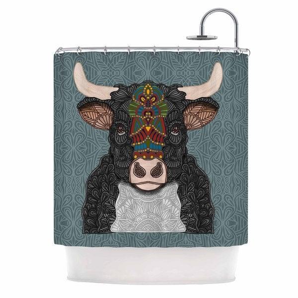 KESS InHouse Art Love Passion Steve The Bull Gray Brown Shower Curtain (69x70)