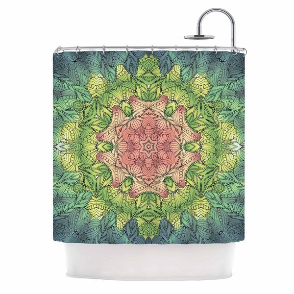 KESS InHouse Art Love Passion Pink Celtic Flower Green Pink Shower Curtain (69x70)