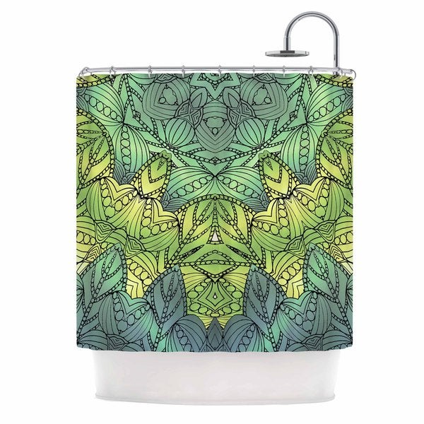 KESS InHouse Art Love Passion Fairy Mandala Green Yellow Shower Curtain 69x70