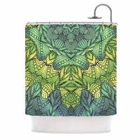 KESS InHouse Art Love Passion Fairy Mandala Green Yellow Shower Curtain (69x70)