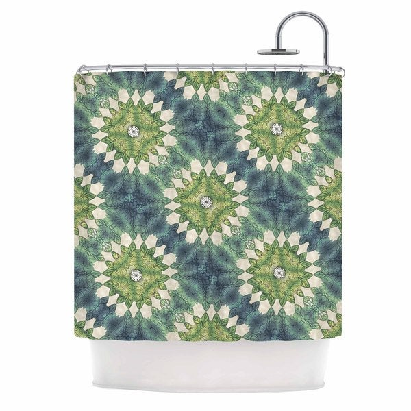 KESS InHouse Art Love Passion Forest Leaves Pattern Green Shower Curtain (69x70)