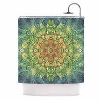 KESS InHouse Art Love Passion Celtic Golden Flower Green Yellow Shower Curtain (69x70)