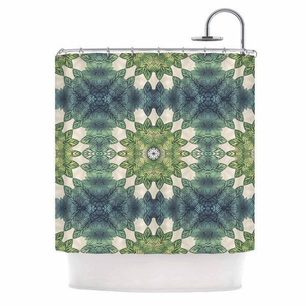 KESS InHouse Art Love Passion Forest Leaves Repeat Green Teal Shower Curtain (69x70)