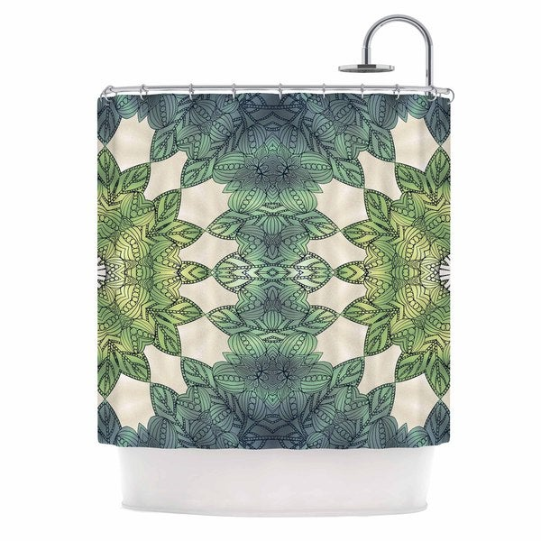 KESS InHouse Art Love Passion Forest Leaves Green Teal Shower Curtain (69x70)