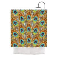KESS InHouse Art Love Passion Peacock Pattern Brown Teal Shower Curtain (69x70)