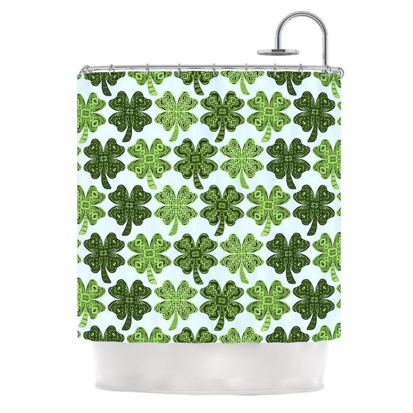 KESS InHouse Art Love Passion Lucky You Green Shamrock Shower Curtain (69x70)