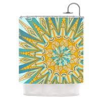 KESS InHouse Art Love Passion Here Comes The Sun Blue Yellow Shower Curtain (69x70)