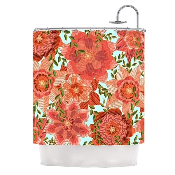 KESS InHouse Art Love Passion Flower Power Red Floral Shower Curtain (69x70)