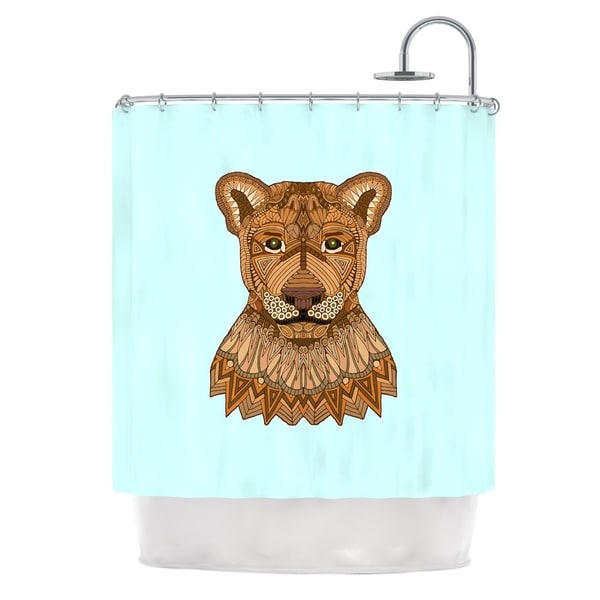 KESS InHouse Art Love Passion Lioness Blue Brown Shower Curtain (69x70)