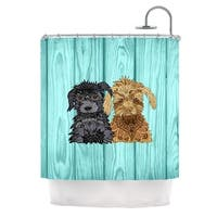KESS InHouse Art Love Passion Daisy and Gatsby Abstract Puppies Shower Curtain (69x70)