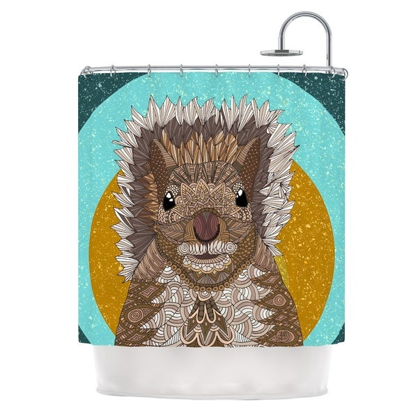 KESS InHouse Art Love Passion Squirrel Teal Brown Shower Curtain (69x70)