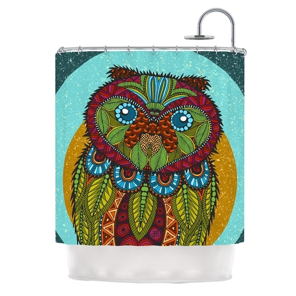 KESS InHouse Art Love Passion Owl Teal Multicolor Shower Curtain (69x70)