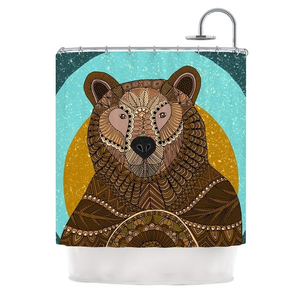 KESS InHouse Art Love Passion Bear in Grass Brown Blue Shower Curtain (69x70)
