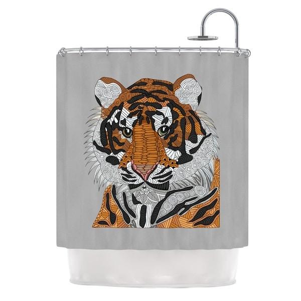KESS InHouse Art Love Passion Tiger Gray Orange Shower Curtain (69x70)