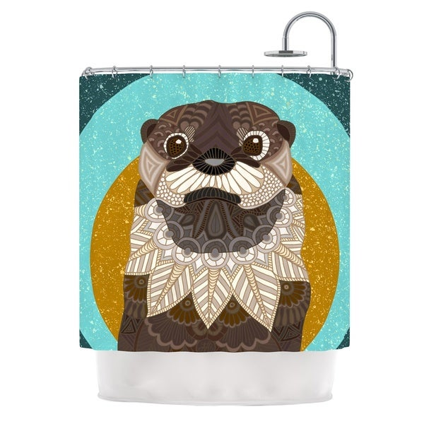 KESS InHouse Art Love Passion Otter in Water Blue Brown Shower Curtain (69x70)