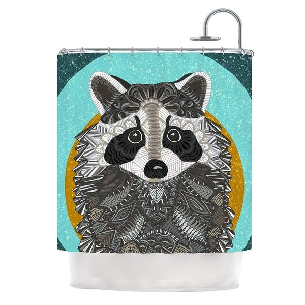 KESS InHouse Art Love Passion Racoon in Grass Gray Teal Shower Curtain (69x70)
