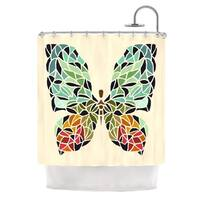 KESS InHouse Art Love Passion Butterfly Brown Multicolor Shower Curtain (69x70)