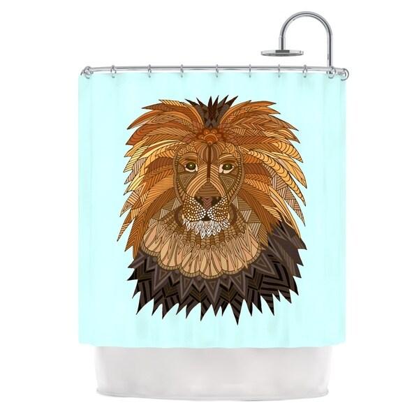 KESS InHouse Art Love Passion Lion Blue Brown Shower Curtain (69x70)