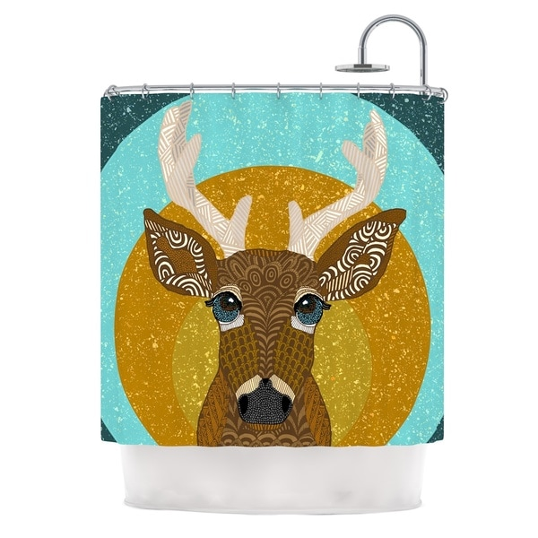 KESS InHouse Art Love Passion Stag in Grass Yellow Blue Shower Curtain (69x70)