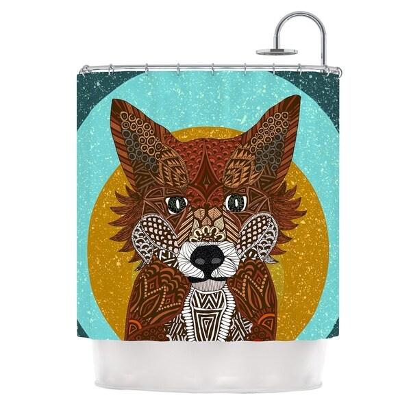 KESS InHouse Art Love Passion Colored Fox Blue Orange Shower Curtain (69x70)