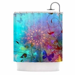 KESS InHouse AlyZen Moonshadow ILLUSION Teal Purple Shower Curtain (69x70)
