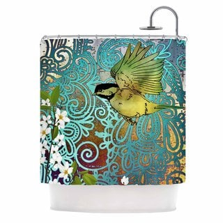 KESS InHouse AlyZen Moonshadow BIRD AND BLOSSOM Teal Green Shower Curtain (69x70)