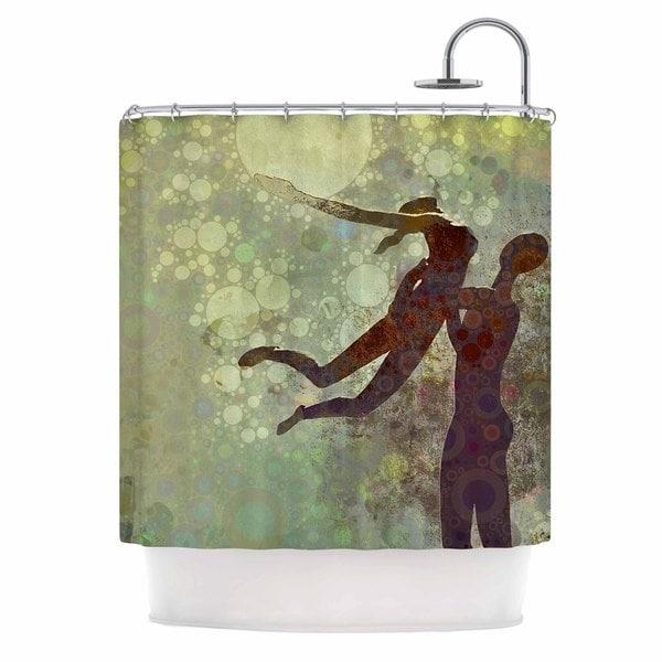 KESS InHouse AlyZen Moonshadow LIFT Green Brown Shower Curtain (69x70)