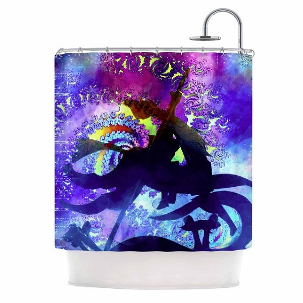 KESS InHouse AlyZen Moonshadow MIDNIGHT HORSE Blue Purple Shower Curtain 69x70