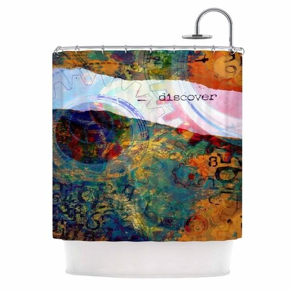 KESS InHouse AlyZen Moonshadow DISCOVER 3 Orange Teal Shower Curtain (69x70)