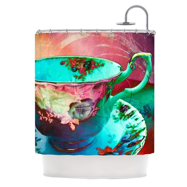 KESS InHouse alyZen Moonshadow Mad Hatters T-Party VI Teal Pink Shower Curtain (69x70)
