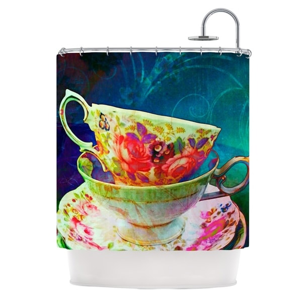 KESS InHouse alyZen Moonshadow Mad Hatters T-Party V Yellow Green Shower Curtain (69x70)
