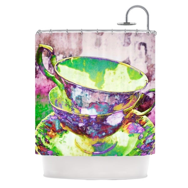 KESS InHouse alyZen Moonshadow Mad Hatters T-Party II Pink Green Shower Curtain (69x70)