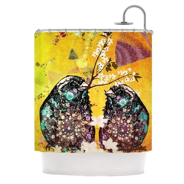 KESS InHouse alyZen Moonshadow Birds In Love Yellow Orange Gold Shower Curtain (69x70)